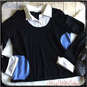 Fred David Twofer Black White Collared Sweater 🖤
